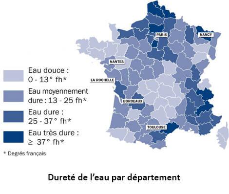 Carte de France désignant les département avec taux de calcaire