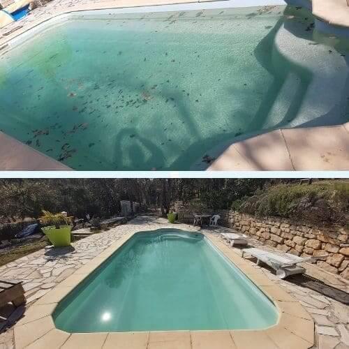 Piscine avant et après nettoyage